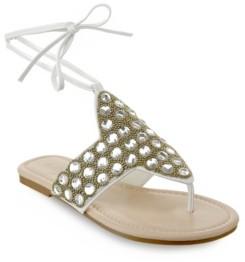 OLIVIA MILLER Naples Large Multi Rhinestone Beaded Ankle Tie Sandals Women's Shoes