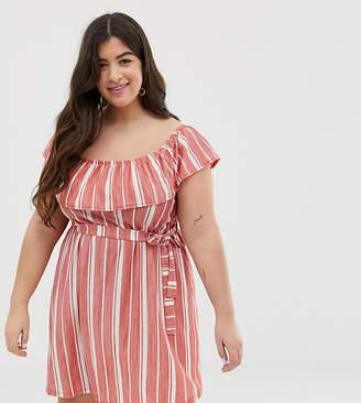 Asos DESIGN Curve off shoulder pique stripe sundress with belt