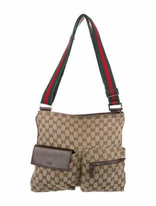 Gucci Medium GG Canvas Messenger Bag Brown