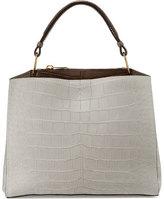 VBH Seven Cocco Alligator & Leather Tote Bag, Pearl Gray/Taupe/Winter White