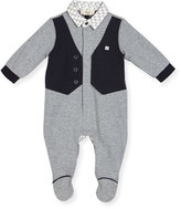 Armani Junior Faux-Vest Cotton Footie Pajamas, Gray, Size 3-12 Months