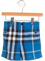 Burberry Boys; Linen-Blend Nova Check Shorts