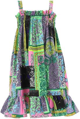 Versace Girl's Baroque-Print Patchwork Smocked Dress, Size 4-6