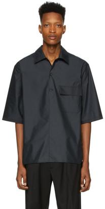 3.1 Phillip Lim Black Oversized Chintz Poplin Polo Shirt