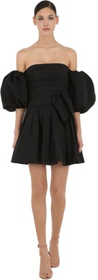 Valentino Off-the-shoulder Micro Faille Mini Dress