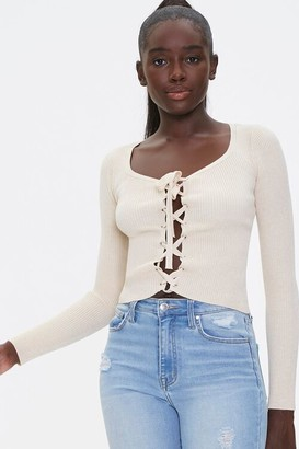 Forever 21 Sweater-Knit Lace-Up Top