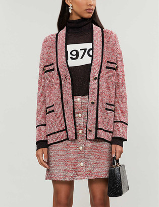 Claudie Pierlot Maxiklase contrast-trimmed stretch-boucle cardigan