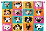 Ambesonne Kids and Teen Room Decor Collection, Pattern with Dogs Retro Popart Style Bulldog Hound Cartoon , Window Treatments for Kids Bedroom Curtain 2 Panels Set, 108X63 Inches, Pink Blue Yellow