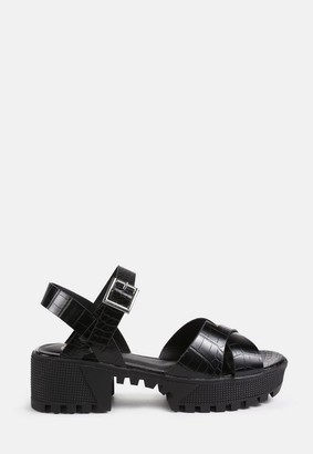 Missguided Cross Front Chunky Split Sole Sandals