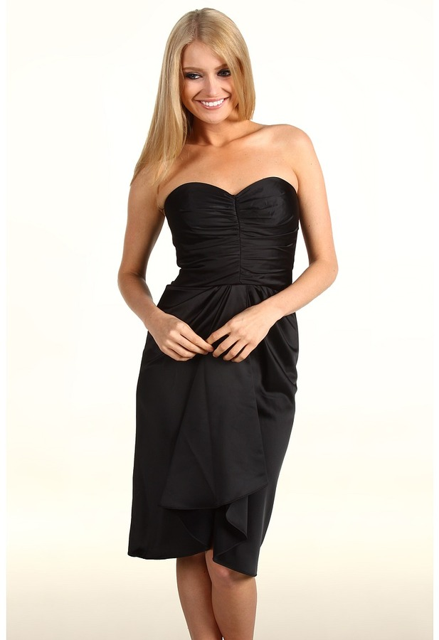 Maggy London Satin Strapless Dress (Black) - Apparel