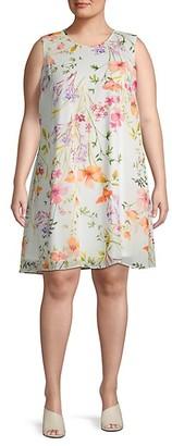 Calvin Klein Plus Floral Mini Shift Dress
