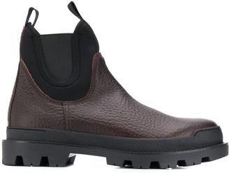 Prada contrast panels boots