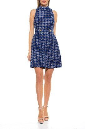 Alexia Admor Avery Plaid Mock Neck Fit & Flare Dress