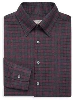 Canali Plaid Cotton Dress Shirt