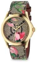 Gucci G-Timeless Blooms Leather Strap Watch