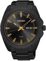Seiko Recraft Mens Black Ion Stainless Steel Solar Bracelet Watch