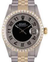 Rolex Datejust 18K Yellow Gold & Stainless Steel Black Bull Eye Tuxedo Diamond Dial 36mm Mens Watch