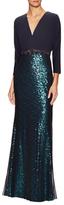 Badgley Mischka Embellished Waist Sequin Maxi Dress
