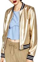 ACHICGIRL Women's Color Block Striped Metallic Bomber Jacket, M