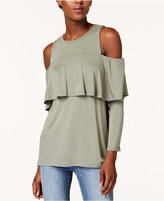 Kensie Cold-Shoulder Ruffle Top