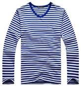 Oure Men Cotton Long Sleeve Striped T Shirts Crewneck V-neck Casual Shirts (L, V neck-)