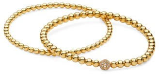 Adriana Orsini 2-Piece 18K Yellow Goldplated Sterling Silver Stretch Beaded Bracelets