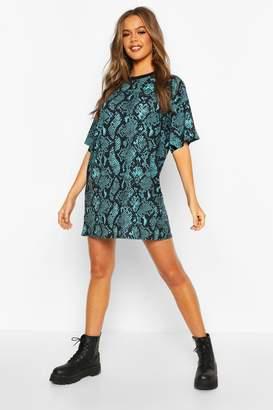 boohoo Snake Print T-Shirt Dress
