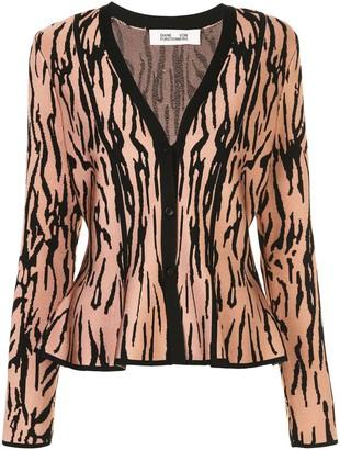 Dvf Diane Von Furstenberg Tiger Print Flared Cardigan