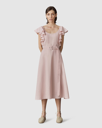 LEO & LIN - Women's Pink Midi Dresses - Amour Ruffled Sleeve Dress - Size One Size, 8 at The Iconic