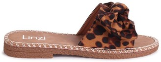 Linzi DETROIT - Leopard Print Suede Slip On Slider With Large Bow Front Strap