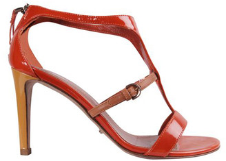 Sergio Rossi Orange Patent Leather Sandals Size 34.5