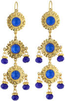 Jose & Maria Barrera Cabochon & Crystal Triple-Drop Earrings