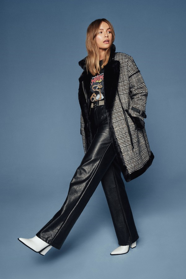 Thumbnail for your product : Nasty Gal Womens Check and Call Tweed Faux Fur Coat - Black - M