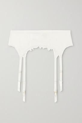Myla Coleville Mews Leavers Lace-trimmed Silk-blend Satin Suspender Belt - Ivory