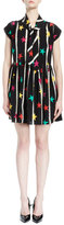 Saint Laurent Cap-Sleeve Tie-Neck Star-Print Dress, Black/Multi