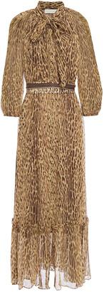 Zimmermann Pussy-bow Leopard-print Silk-crepon Maxi Dress