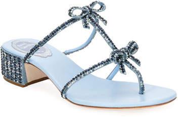 Rene Caovilla Beaded Denim Block-Heel Thong Sandal with Bows