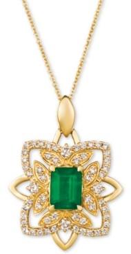 """LeVian Le Vian Costa Smeralda Emerald (1-1/5 ct. t.w.) & Nude Diamond (5/8 ct. t.w.) 20"""" Pendant Necklace in 14k Gold"""