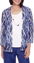 Alfred Dunner 3/4-Sleeve Diamond-Print Layered Top with Necklace