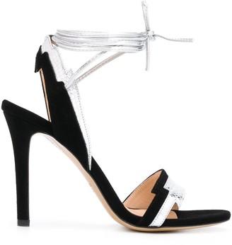Pinko Snakeskin Effect Straps Sandals