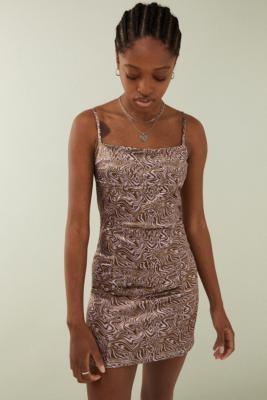 Urban Outfitters Lilac Swirl Sateen Mini Dress - Purple XS at