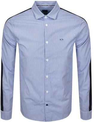 Armani Exchange Striped Long Sleeve Shirt White
