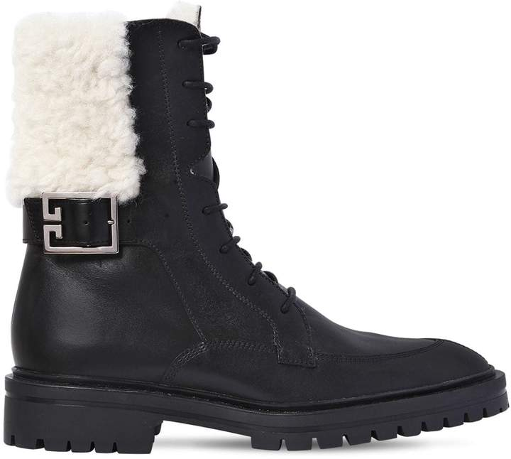 Givenchy 30mm Aviator Leather & Shearling Boots