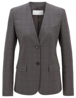 HUGO BOSS Collarless Checked Jacket In A Stretch Virgin Wool Blend - Patterned