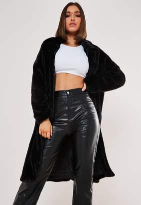 Missguided Black Faux Fur Tortoiseshell Button Coat