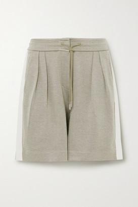 Ninety Percent Striped Pleated Organic Cotton-blend Twill Shorts - Green
