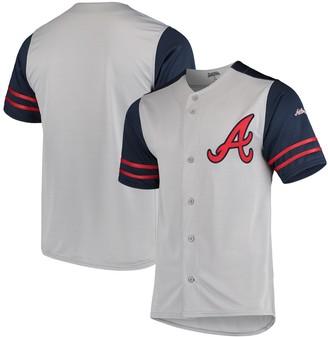 Stitches Atlanta Braves Button-Up Jersey - Gray/Navy