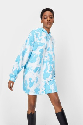 Nasty Gal Womens When This is Over-sized Tie Dye Hoodie Dress - Blue - 4