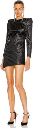 Saint Laurent Long Sleeve Mini Dress in Noir Brilliant | FWRD