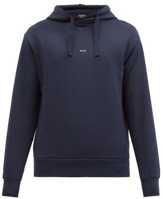 A.P.C. Larry Logo-print Cotton-jersey Hooded Sweatshirt - Navy